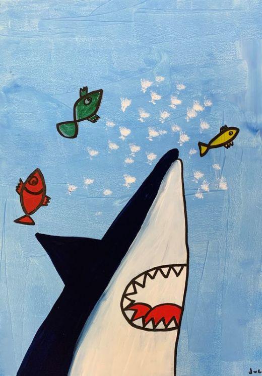 Hai mit Fischen